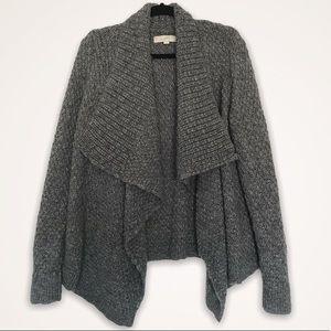 Loft Grey Waffle Knit Draped Open Cardigan